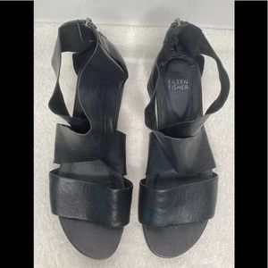 Eileen Fisher Sport Sandals Size 8 Black Leather